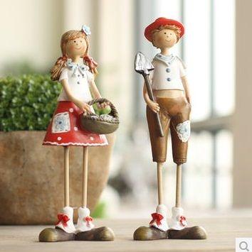田園樹脂擺件創意結婚禮物家居裝飾品工藝品 高腳英格蘭情侶1對-niaoy0014