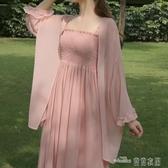 當當衣閣-很仙的防曬衣開衫冰絲薄款 新款網紅中長款連衣裙兩件套裝潮