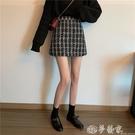 毛呢半身裙 半身裙秋冬女格子包臀裙2021新款秋季高腰裙子百搭A字裙毛呢短裙 夢藝