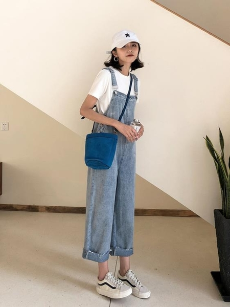 全館83折 牛仔背帶褲女早顯瘦休閒九分哈倫褲子