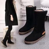雪靴女士平底防水防滑韓版中筒靴子女加絨加厚棉鞋  『魔法鞋櫃』
