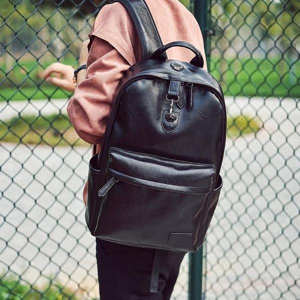 日韓雙肩包男皮質潮流防盜個性時尚青年書包背包男士旅行包潮 - 風尚3C