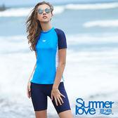【Summer Love 夏之戀】加大碼大女短袖衝浪裝二件式加大碼(S18713)