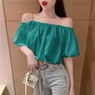 夏季新款性感露肩一字領泡泡袖吊帶襯衫女寬鬆顯瘦短款氣質上衣潮