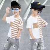 男童短袖t恤 大碼新款運動韓版洋氣上衣潮童8中大童12休閒15歲潮衣 qz5195【野之旅】