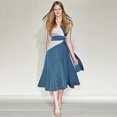 洋裝-無袖優雅氣質V領撞色連身裙73ta18【時尚巴黎】