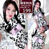 克妹Ke-Mei【AT57851】VENTIVE歐美妞最愛滿版豹紋印花寬鬆T恤洋裝