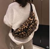 秒殺胸包女秋冬新款毛毛包挎包個性豹紋印花腰包超火運