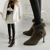 冬季新款細跟尖頭加絨踝靴貓跟兔毛短靴女棉鞋高跟百搭毛毛鞋