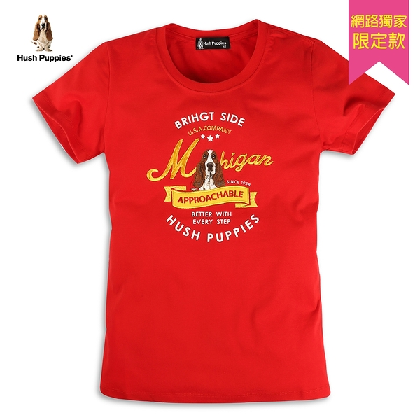 Hush Puppies T恤 女裝美式經典立體刺繡狗短袖T恤