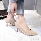 OL工作鞋大碼高跟鞋女細跟單鞋2020年新款女鞋百搭小清新溫柔女尖頭 LR22450『麗人雅苑』