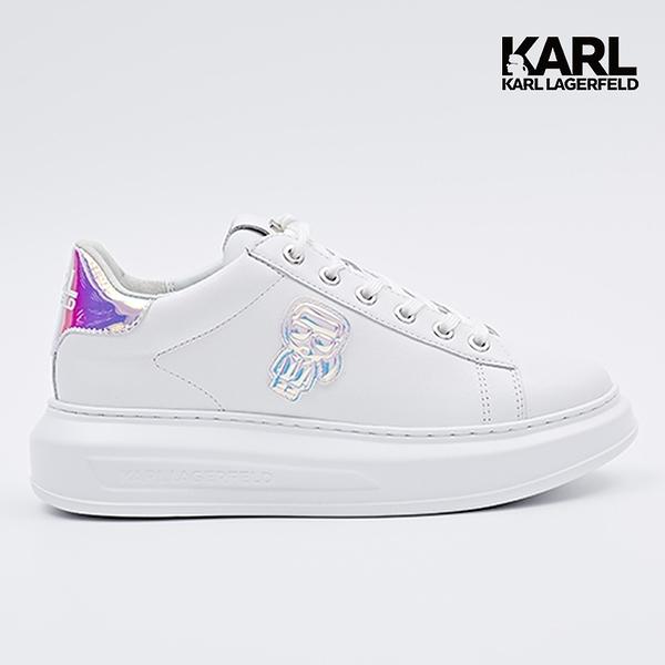 【KARL LAGERFELD】KAPRI IKONIK綁帶運動鞋-白/虹