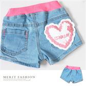 愛心花邊毛線繡口袋牛仔短褲 粉色褲頭 愛心 花邊 女童 牛仔 短褲 牛仔褲 百搭 哎北比童裝