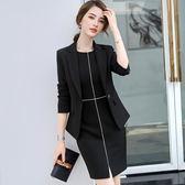 秋裝正式場合職業連身裙女2018新款時尚氣質職場女裝裙子 萬客居
