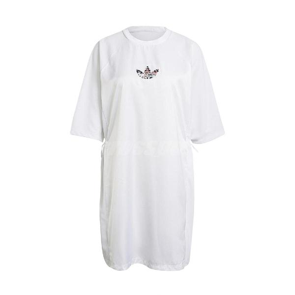 adidas 連身裙 Originals Tee Dress 白 彩 女款 洋裝 長版 Jisoo 運動休閒 【ACS】 GN3115