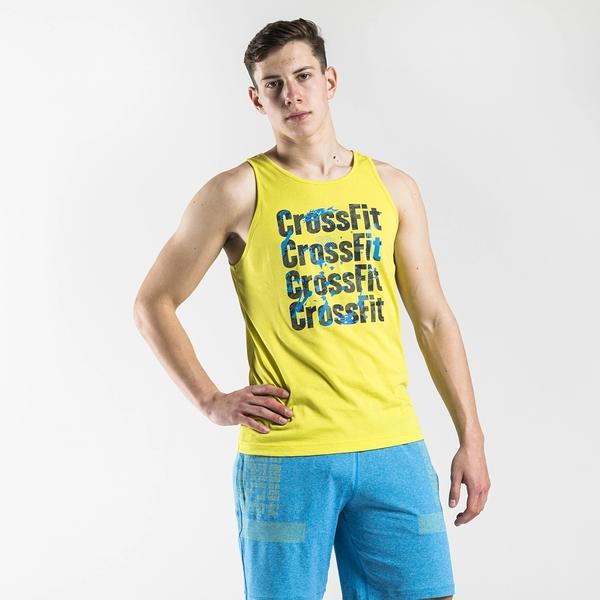REEBOK CrossFit Games Print Logo 男裝 背心 訓練 休閒 串標 乾爽 舒適 黃【運動世界】FS7655