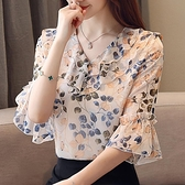 碎花雪紡襯衫短袖女裝夏裝2020年夏季新款潮上衣洋氣時尚氣質小衫