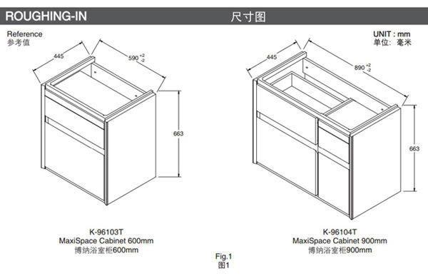 【麗室衛浴】 美國KOHLER 系列 K-96120T-1-0 一體面盆+K-20019T-H14 多功能浴櫃 促銷優惠 止到2018/06/30