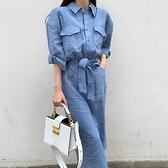 綁帶洋裝 韓國早秋法式翻領單排扣顯瘦綁帶收腰過膝長款襯衫式洋裝女-Milano米蘭