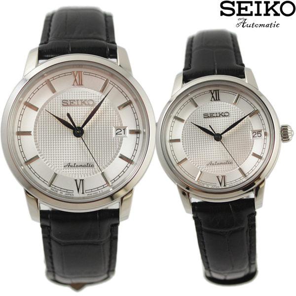【萬年鐘錶】SEIKO PRESAGE精工4R35經典都會機械 男女 情人對錶23石 日期 透明底蓋 39mm(大) 34mm(小)