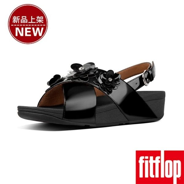 【FitFlop】LULU FLOWER PATENT BACK-STRAP SANDALS(黑色)