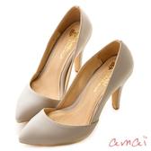 amai法式素面低口尖頭高跟鞋 灰