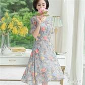 中大尺碼媽媽洋裝 夏裝雪紡連身裙中長款氣質中年女裝高貴短袖裙子 LJ1806【甜心小妮童裝】