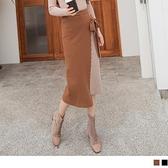 《FA2359-》層次假兩件配色織紋側綁帶包芯紗A字裙 OB嚴選