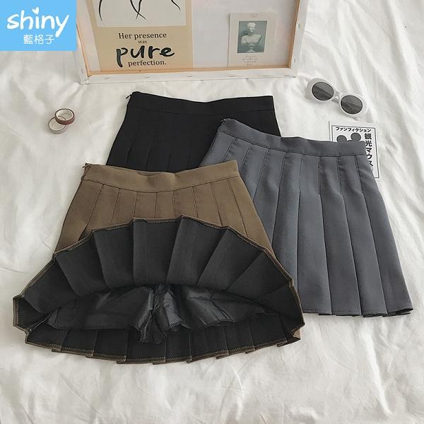 【V9323】shiny藍格子-簡約修身.顯瘦時尚百搭高腰百褶裙