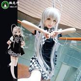 貓老師潛行吧奈亞子COS服動漫cosplay服裝女裝黑白格子女仆女傭裝  SMY12584【KIKIKOKO】
