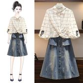 微購【A4387】格子襯衫+牛仔裙 套裝 XL-4XL