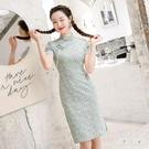 短袖洋裝 2021年全棉小雛菊旗袍小個子改良版年輕款短袖旗袍裙子連衣裙新款 快速出貨