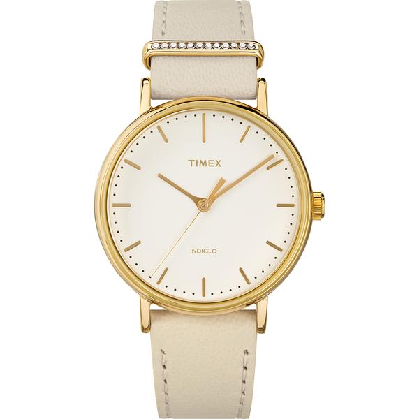 【TIMEX】天美時 週末Fairfield系列 晶鑽時尚優雅手錶(米黃 TXTW2R70500)