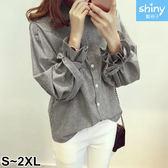 【V2236】shiny藍格子-甜美風曲.條紋燈籠袖蝴蝶結綁帶長袖襯衫