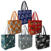 大號可重複使用動物印花購物手提袋(6 件套)
