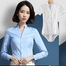 連體襯衫 藍色連體襯衫女空姐制服立領v領白襯衫長袖連褲襯衣面試職業工裝