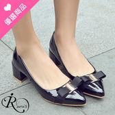 韓系甜美蝴蝶結金屬造型尖頭高跟包鞋/3色/35-44碼 (RX0468-76-2) iRurus 路絲時尚
