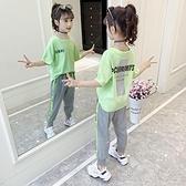 女童運動套裝 女童夏季套裝新款韓版兒童洋氣夏裝女孩時髦霸氣運動衣服 快速出貨