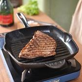 加厚鑄鐵牛排煎鍋條紋牛排鍋無涂層不粘家用煎牛扒專用鍋【輕奢時代】