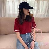 夏季針織日系衫短袖t恤女裝紅色上衣【少女顏究院】