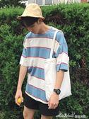 韓版夏季新款條紋t恤男士寬鬆學生短袖上衣學院風潮   蜜拉貝爾
