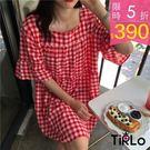 連身裙 -Tirlo-韓風方領格紋連身裙...