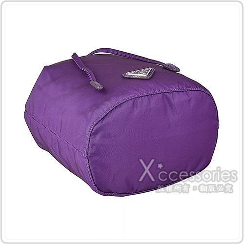 PRADA 鐵牌LOGO尼龍束口化妝包(紫)
