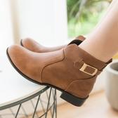 【現貨快速出貨】靴子.MIT前V口扣環簡約平底短靴.白鳥麗子