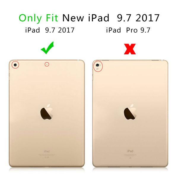【萌萌噠】2017年新款 New iPad (9.7吋) 卡斯特紋 三折支架保護套 類皮紋側翻皮套 平板套 保護殼