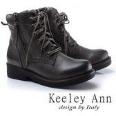 ★2017秋冬★Keeley Ann率性女孩~中性綁帶側拉鍊真皮中跟短靴(灰色)