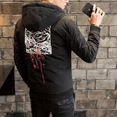 夾克外套-連帽時尚後背印花休閒夾棉男外套3色73qa9[時尚巴黎]