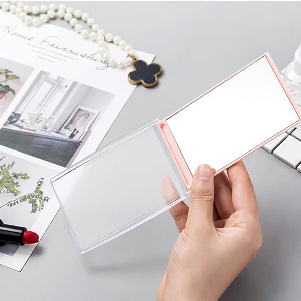 鏡子折疊式隨身鏡 一入 方形/圓形 顏色隨機 桌面立鏡 化妝鏡【小紅帽美妝】