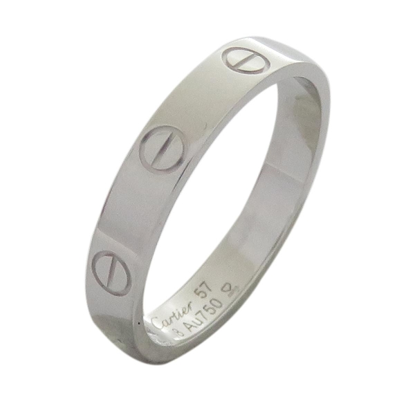 Cartier 卡地亞 LOVE系列18白K金戒指 #57 LOVE Wedding Ring【二手名牌 BRAND OFF】