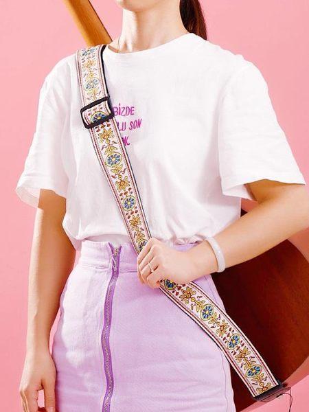 吉他背帶民謠女生刺繡民族風經典款吉他帶子肩帶斜背【聚寶屋】